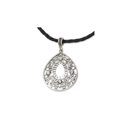 Jewelryweb Silver-tone Filigree Teardrop With Clear Crystal Pendant16inch w Ext Necklace