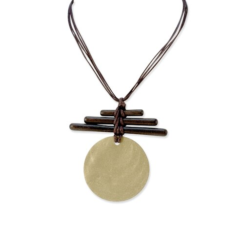 Metal Disc and Brown Hamba Wood Twigs 17inch Corded Necklace