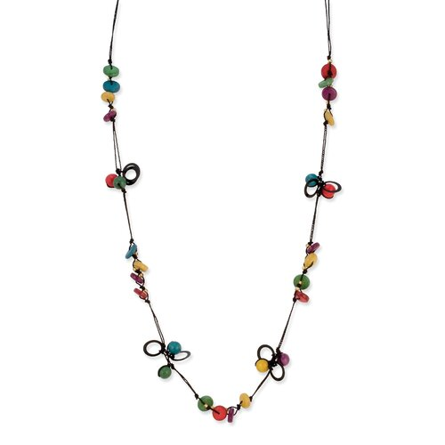Jewelryweb Multicolored Hamba Wood Black Cord 32inch Necklace