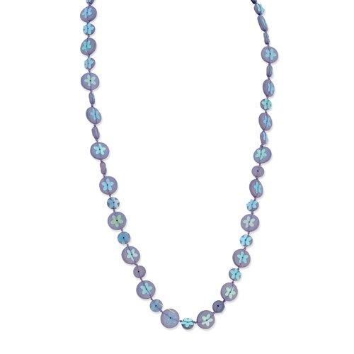 Jewelryweb Purple Hamba Wood Bead Sequin Blue Flowered 30in Necklace