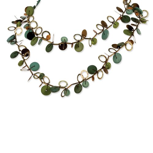 Green Disc Copper Sequin 26in Necklace