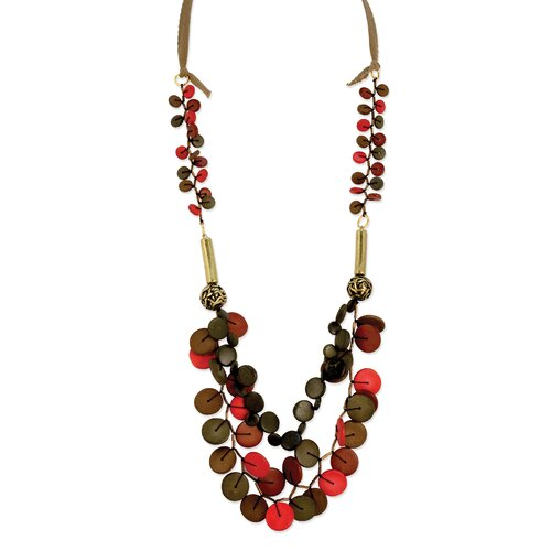Jewelryweb Brown Red 36inch Necklace