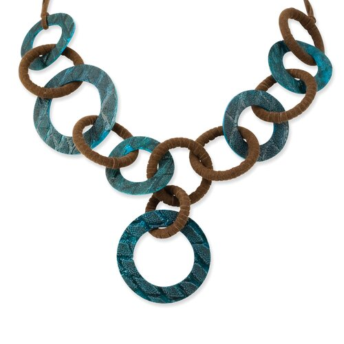 Genuine Turquoise Fish Skin and Brown Faux Suede Drop Necklace
