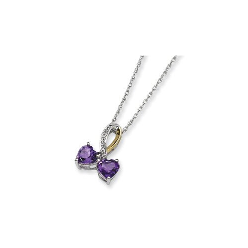 Jewelryweb Sterling Silver and 14K Amethyst and Diamond Heart Necklace - 17 Inch