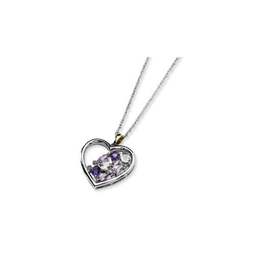 Sterling Silver and 14K Amethyst and Topaz and Diamond Necklace - 17 Inch