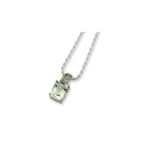 Sterling Silver and 14K Green Amethyst and Diamond Necklace - 17 Inch