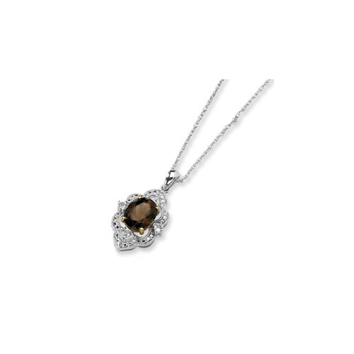 Sterling Silver and 14K Smokey Quartz and White Topaz and Diamond Necklace - 17 Inch ...