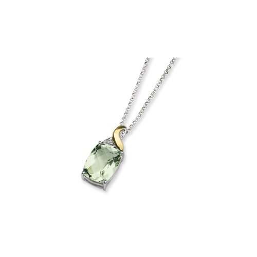 Sterling Silver and 14K Green Amethyst and Diamond Necklace - 18 Inch