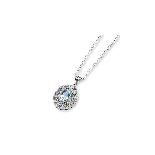 Sterling Silver and 14K Sky Blue and Diamond Necklace - 18 Inch