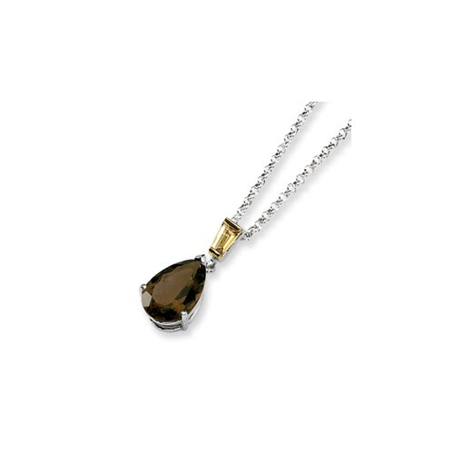 Jewelryweb Sterling Silver and 14K Smokey Quartz and Citrine Necklace - 18 Inch