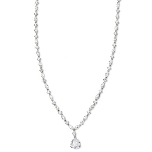 Jewelryweb Sterling Silver Pear CZ Necklace - 17 Inch