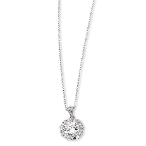 Jewelryweb Sterling Silver CZ Necklace - 18 Inch