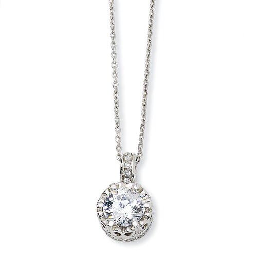 Jewelryweb Sterling Silver 100-facet CZ Necklace - 18 Inch