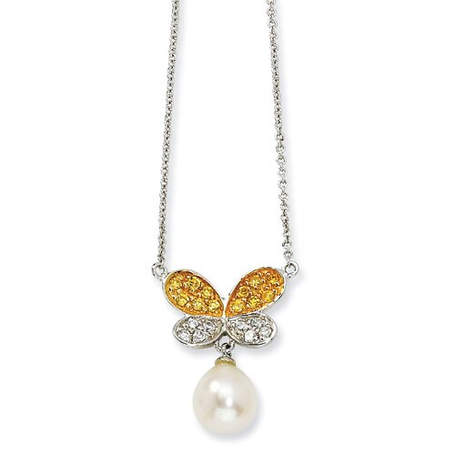Jewelryweb Gold-plated Sterling Silver CZ 7mmFW Cultured Pearl Butterfly Necklace - 16 Inch