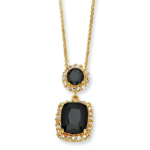 Gold-plated Sterling Silver Black White CZ Necklace - 18 Inch