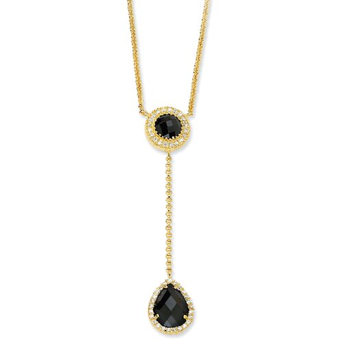 Gold-plated Sterling Silver Checker-cut Blk Wht CZ Necklace - 17 Inch