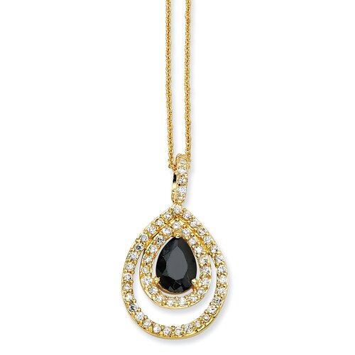 Gold-plated Sterling Silver Blk Wht Pear CZ Necklace - 18 Inch