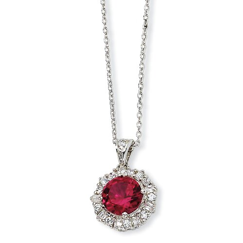 Sterling Silver Synthetic Ruby and CZ Necklace - 18 Inch