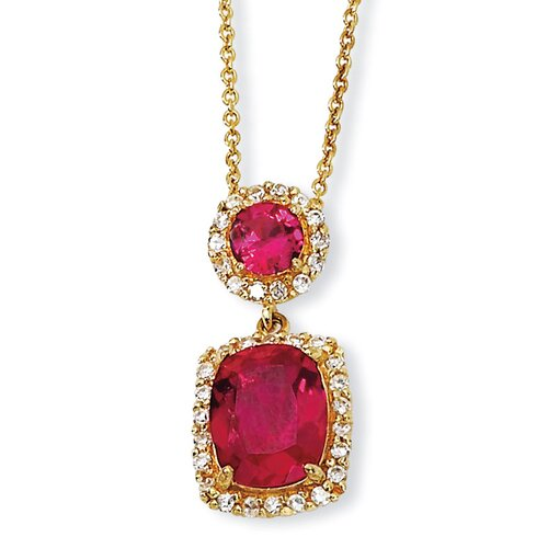 Gold-plated Sterling Silver Synthetic Ruby and CZ Necklace - 18 Inch