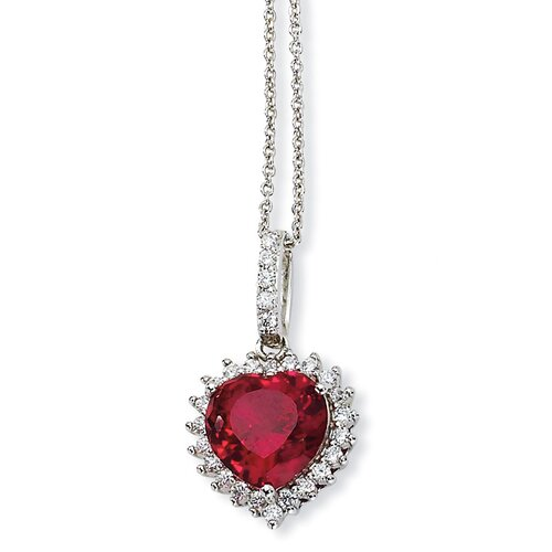 Sterling Silver Heart 100-facet Synthetic Ruby CZ Necklace - 18 Inch