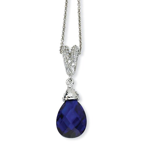 Sterling Silver Teardrop Synthetic Sapphire and CZ Necklace - 18 Inch