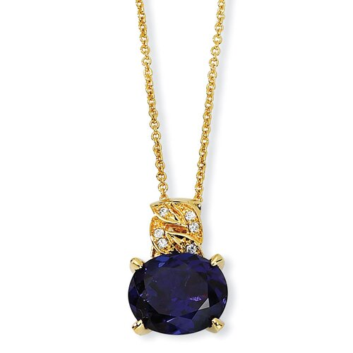 Gold-plated Sterling Silver Synthetic Sapphire and CZ Necklace - 18 Inch
