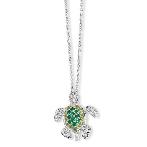 Jewelryweb Sterling Silver Sim. Peridot Sim. Emerald CZ Turtle Necklace - 18 Inch