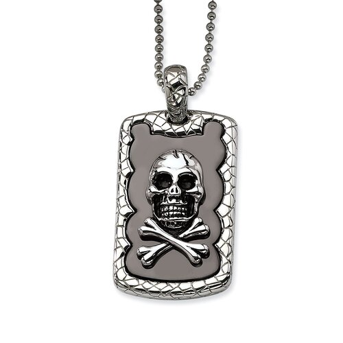Jewelryweb Stainless Steel Skull and Crossbones IP Black Plated Dog Tag Pendant24 in. N - 24 Inch