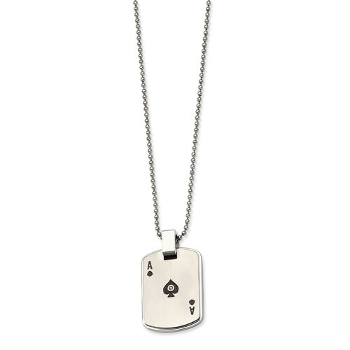 Jewelryweb Stainless Steel Black Enamel Ace of Spades With CZ Dog Tag PendantNecklace - 24 Inch