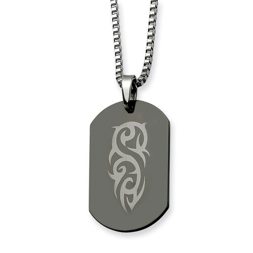 Stainless Steel Fancy Scroll Black Plated Dog Tag Necklace - 26 Inch