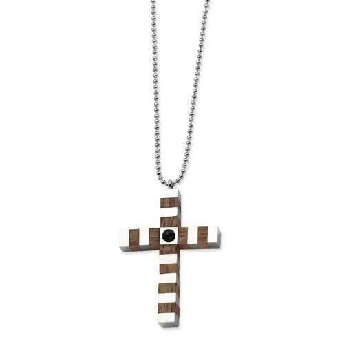 Stainless Steel and Wood Cross Necklace - 22 Inch