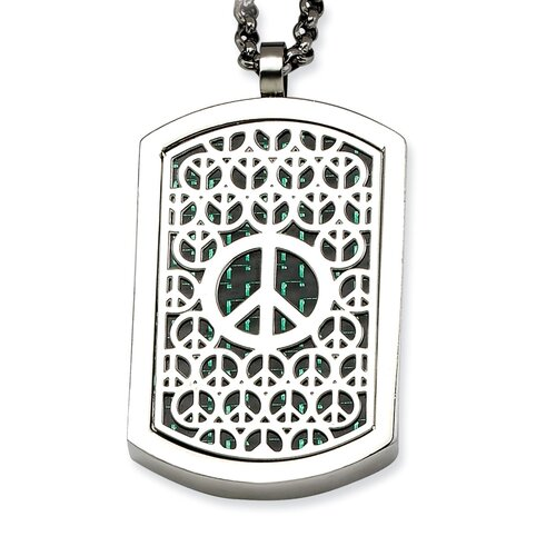 Jewelryweb Stainless Steel Peace Symbol and Crosses Reversable Dog Tag Necklace - 22 Inch