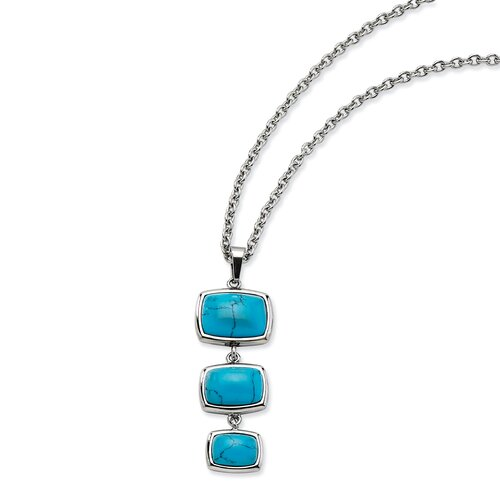Jewelryweb Stainless Steel Turquoise Dangles PendantNecklace - 18 Inch