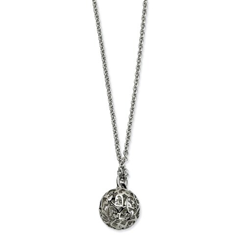 Jewelryweb Stainless Steel Heart Cutouts Puffed Circle 20 With 2inch Ext Necklace - 20 Inch