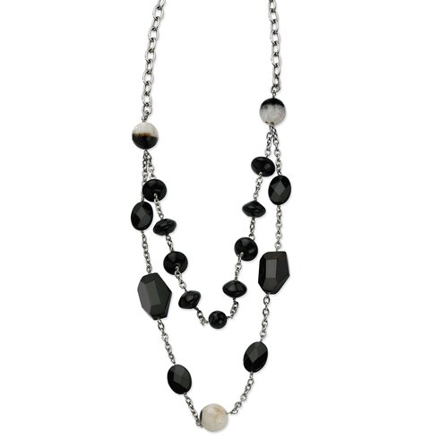 Jewelryweb Stainless Steel Black Agate and Crystal 24 With 1.5inch ext. Necklace - 24 Inch