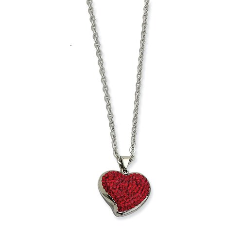 Stainless Steel Red Crystal Heart PendantNecklace - 22 Inch