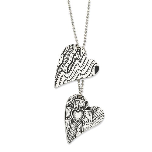 Stainless Steel Love and Faith Heart Necklace - 24 Inch