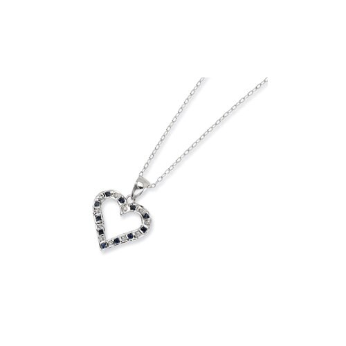 Jewelryweb Sterling Silver and Platinum-plated Dia. and Sapphire 18inch Heart Necklace