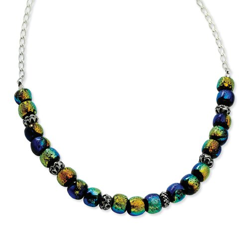 Jewelryweb Sterling Silver Dichroic Glass Beaded Necklace - 17 Inch