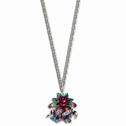Jewelryweb Ed Hardy Rose Eternal Love Painted 24inch Necklace