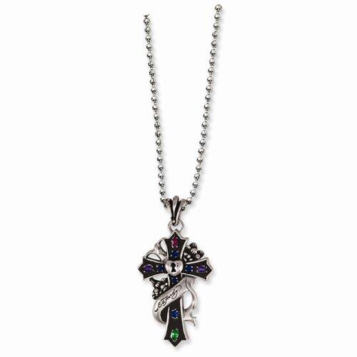 Stainless Steel Ed Hardy Key Heart Cross 24inch Necklace