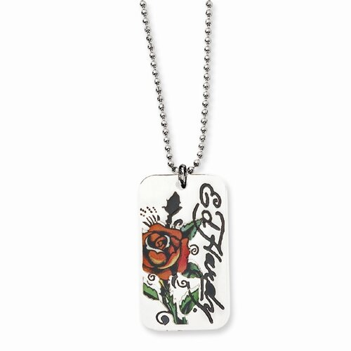 Ed Hardy Rose 2-piece Painted Dog Tag 24inch Necklace