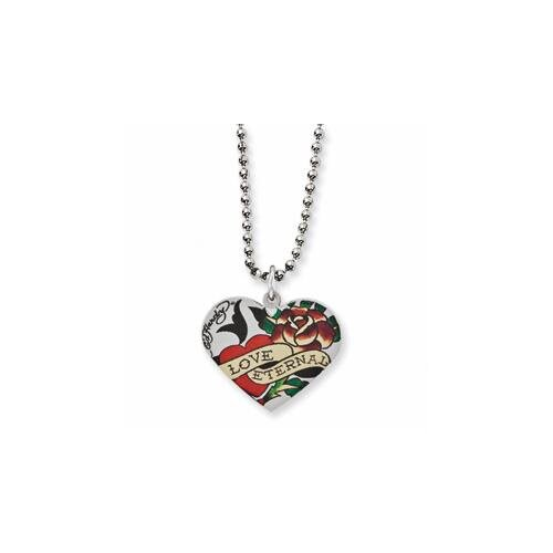 Jewelryweb Ed Hardy Eternal Love Rose Heart Necklace