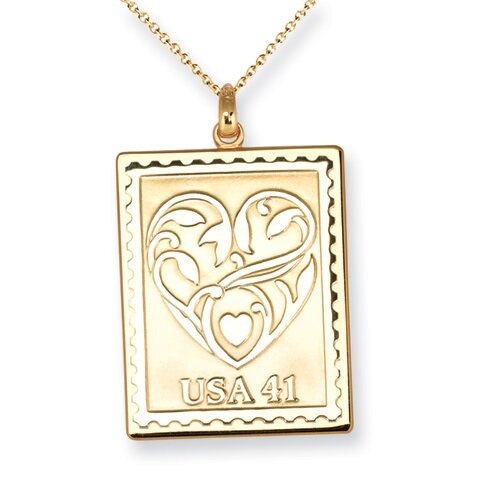 Sterling Silver Postage Stamp Wedding Hearts Necklace - 16 Inch