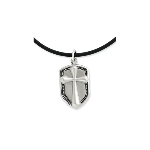 Sterling Silver Antiqued Our Shield 22inch Rubber Cord With 2in ext Necklace