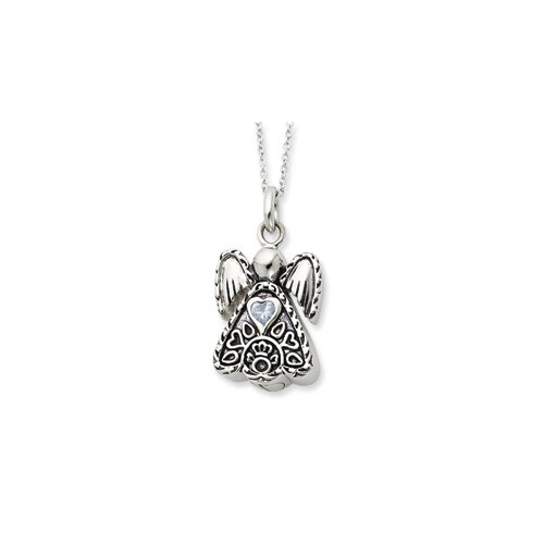 Jewelryweb Sterling Silver Antiqued Mar. Birthstone Angel Ash Holder 18inch Necklace
