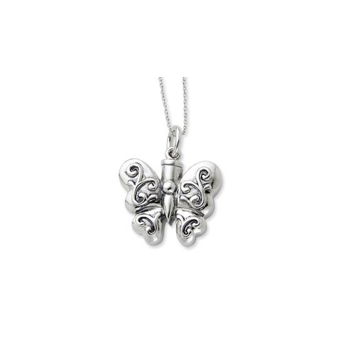 Jewelryweb Sterling Silver Antiqued Butterfly Ash Holder 18inch Necklace