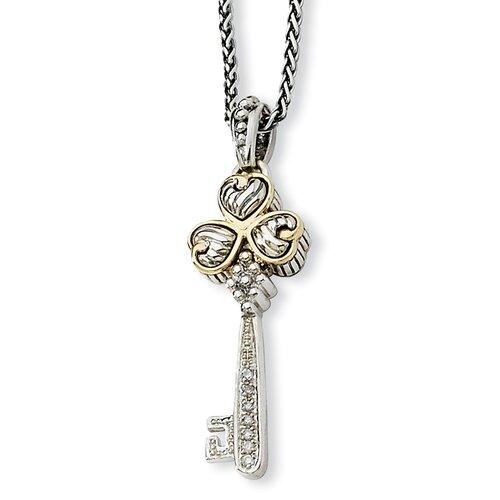 Jewelryweb Sterling Silver With 14k 1/15ct. Diamond Key 18 InchNecklace