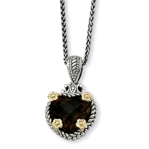 Jewelryweb Sterling Silver With 14k 8.57 Heart 18inch Necklace