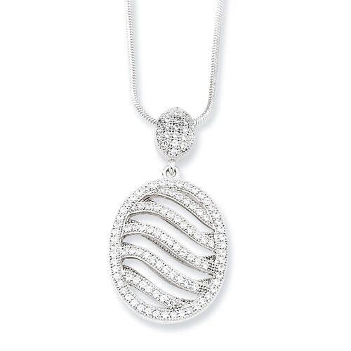 Sterling Silver and CZ Fancy Polished Oval Necklace - 18 Inch